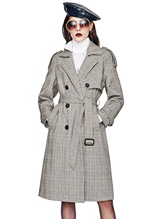 9da13727cfe Murfhee Women s Vintage Plaid Double Breasted Trench Coat Long Jacket with  Belt at Amazon Women s Coats Shop