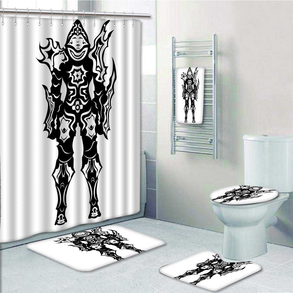 PRUNUS Designer Bath Polyester 5-Piece Bathroom Set,Video Game of a Man Demon Hunter in Battle War Theme Heroes Print bathroom rugs shower curtain/rings and Both Towels(Large size)