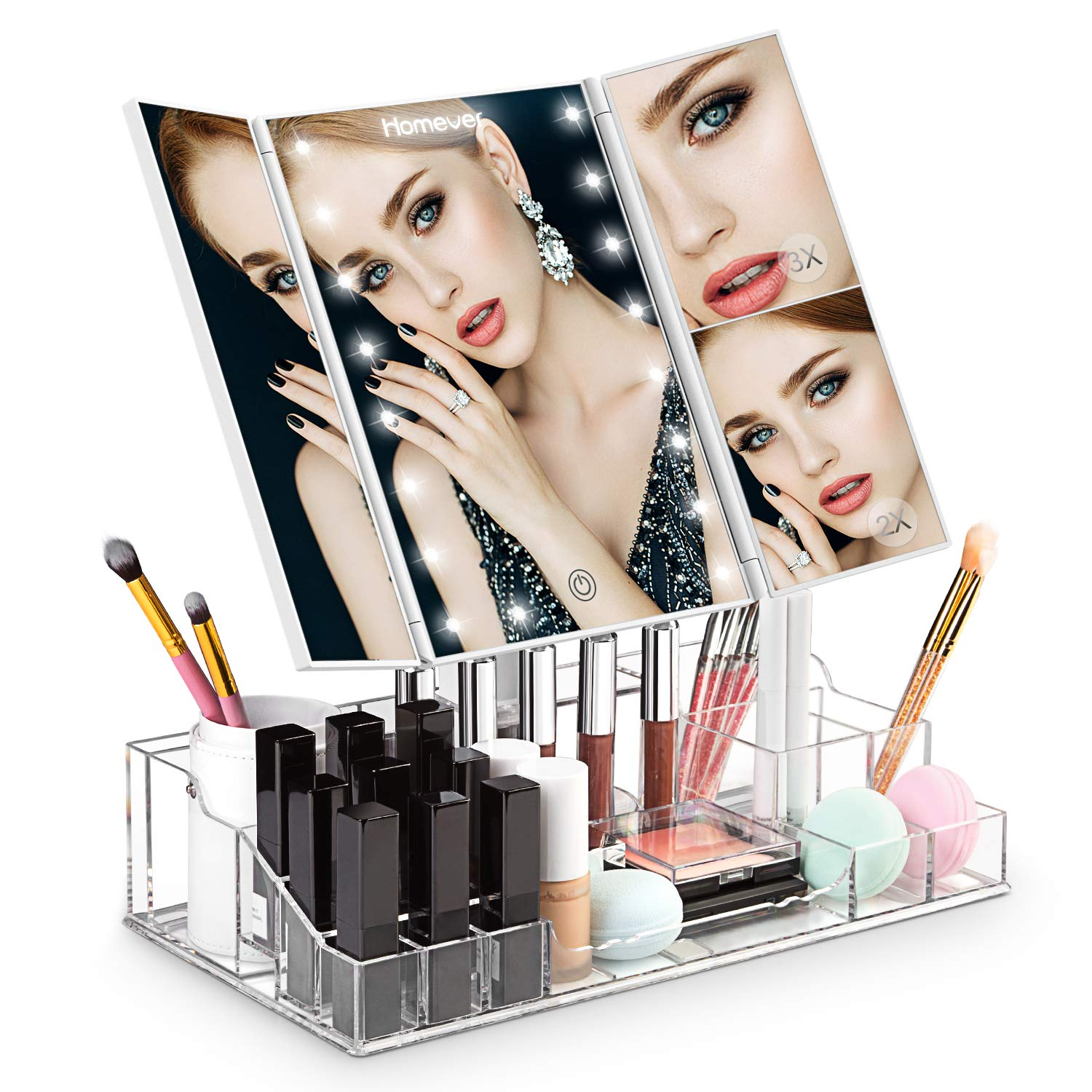 LED Makeup Mirror, Homever Vanity Mirror with Lights and Magnification for Makeup, Lighted Makeup Mirror with Acrylic Makeup Organizer, 21Pcs LED Lights and Touch Screen 180 Degree Rotation