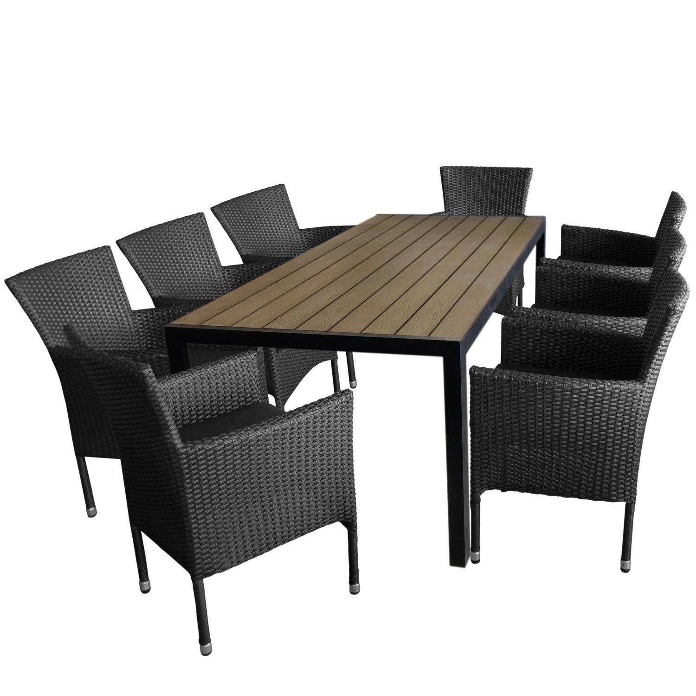 9tlg. Gartengarnitur Aluminium Gartentisch, Tischplatte Polywood Braun, 205x90cm + 8x Rattansessel, Bespannung Polyrattan, schwarz - Gartenmöbel Set Sitzgarnitur Sitzgruppe