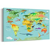 Amazon dinosaur world map by michael tompsett 22x32 inch canvasbees kids animals funny world map series canvas prints wall art for home decor gumiabroncs Images