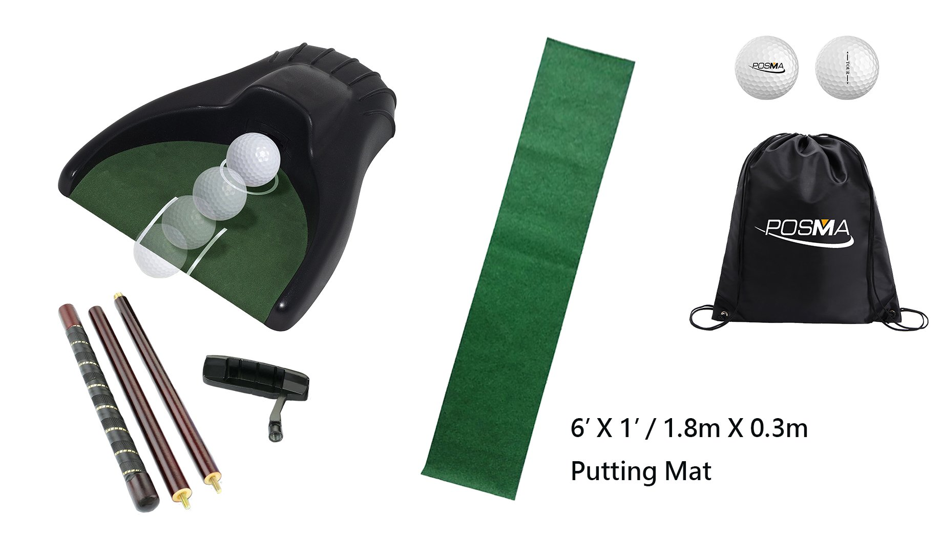 POSMA PG150D Golf Putter Training Putting Trainer Bundle Gift Set with Kickback Putt Cup, 6ft x 1ft Putt Mat, Detachable 4-section putter, 2pcs Tour Ball and Cinch Sack Carry Bag