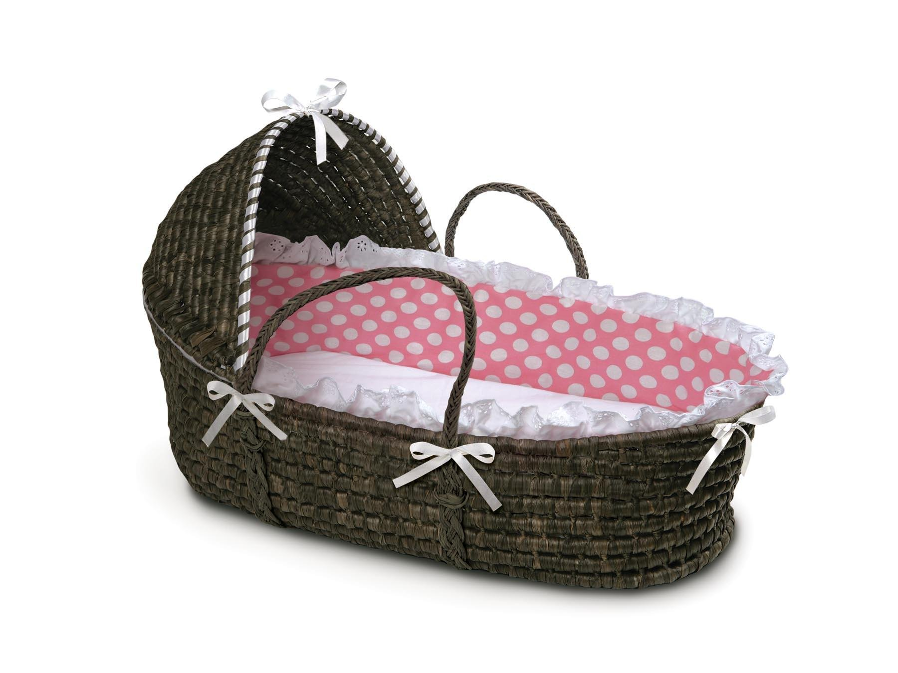 Hooded Moses Basket Espresso/Pink Polka Dot