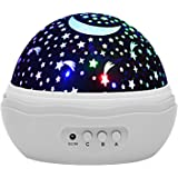 Discoball® Lovely Cute Starry Night Light Rotating Projection Lamp, Romantic Cosmos Starlight Desk Lighting Projector for Baby Nursery Bedroom Children Room Decoration and Birthday Christmas Gift [Moon Star Dreamer Sky -- Rose Flower ] (White)