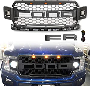 VZ4X4 Front Grill for F150 2018 2019 2020, Including XL, XLT, LARIAT, King Ranch, Platinum and Limited, Raptor Style Grille for Ford With 3 Amber LED Lights and 2 Side Led Lights - Grey
