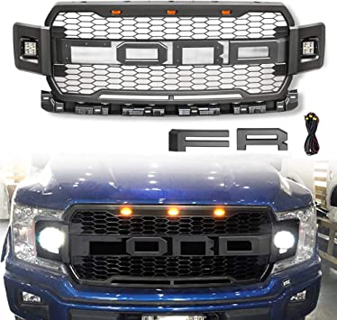 Raptor Front Grill Fits for 2018-2019 Ford F150 F-150 Front Grille with 3 Amber LED lights BLACK