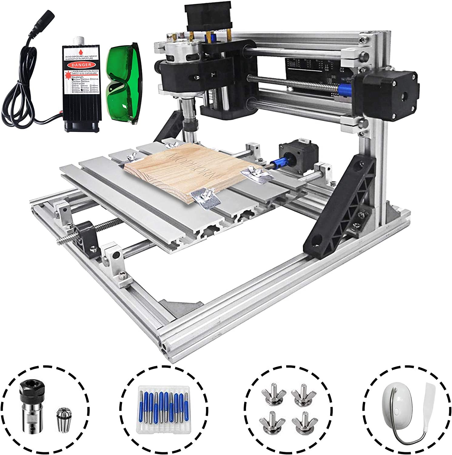 Mophorn Cnc Machine 2418 Grbl Control Cnc Router Kit 3 Axis Pcb Laser Engraver 240X180X40Mm With 500mW Laser Head Module and Lamp