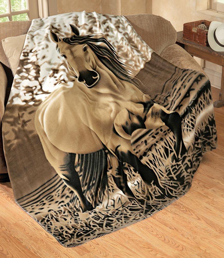 Amazon Western Horse Soft Fleece Throw Blanket 63x73 Home Kitchen