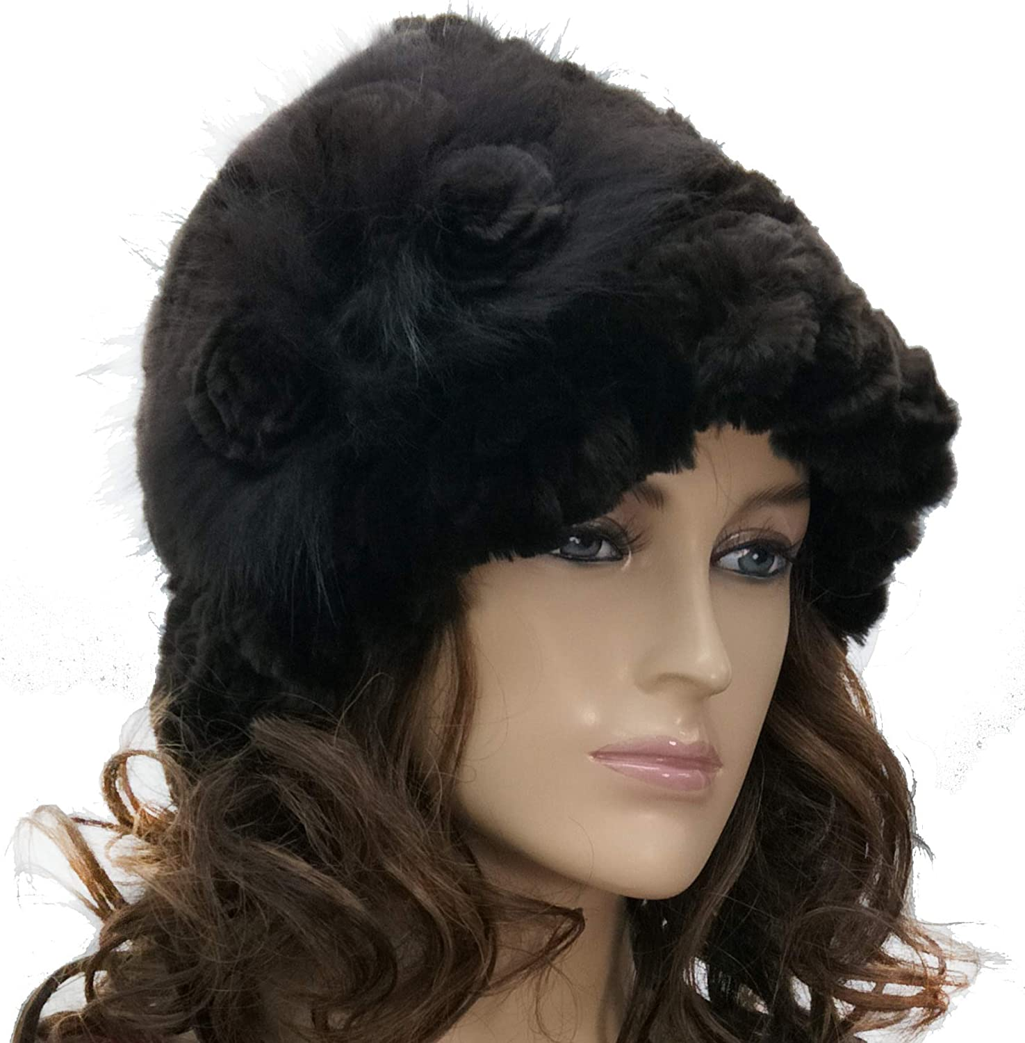 Hima 100/% Rex Rabbit Fur Floppy Hat with Three Rosettes