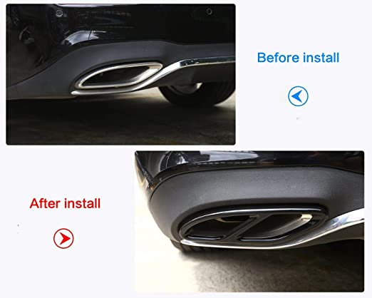 Amazon.com: 304 Stainless Steel Pipe Tail Throat Exhaust Black Outputs Tail Frame Trim Cover for Mercedes benz A-CLASS C-Class W205 Coupe B W246 E W213 GLE ...