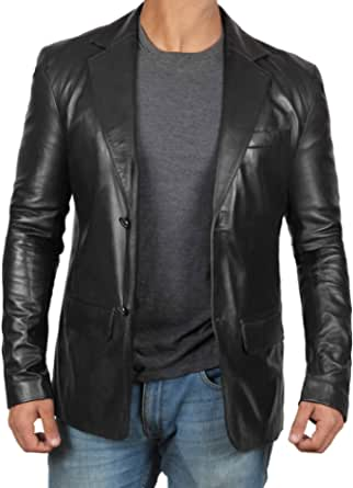 Decrum Leather Blazers for Men - Casual Mens Leather Jacket & Sports Coat