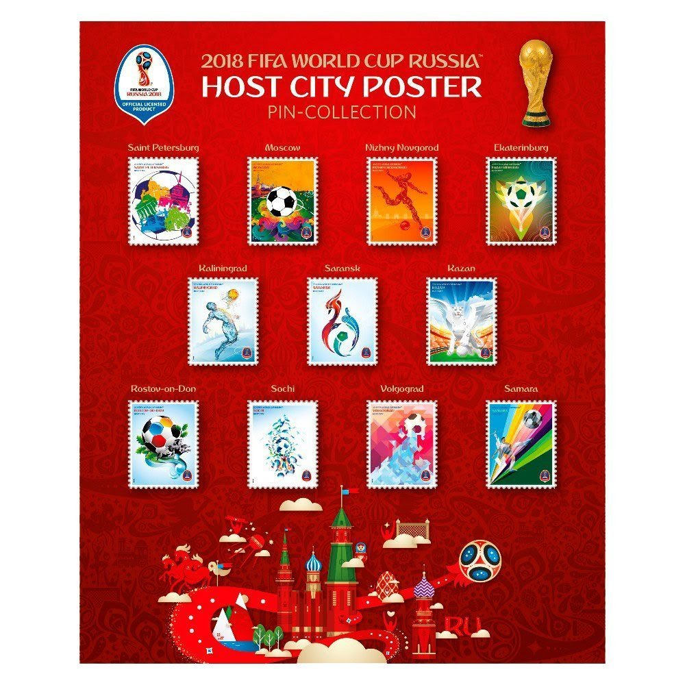 Club Licensed World Cup 2018 Poster Pin Collection auf Karton
