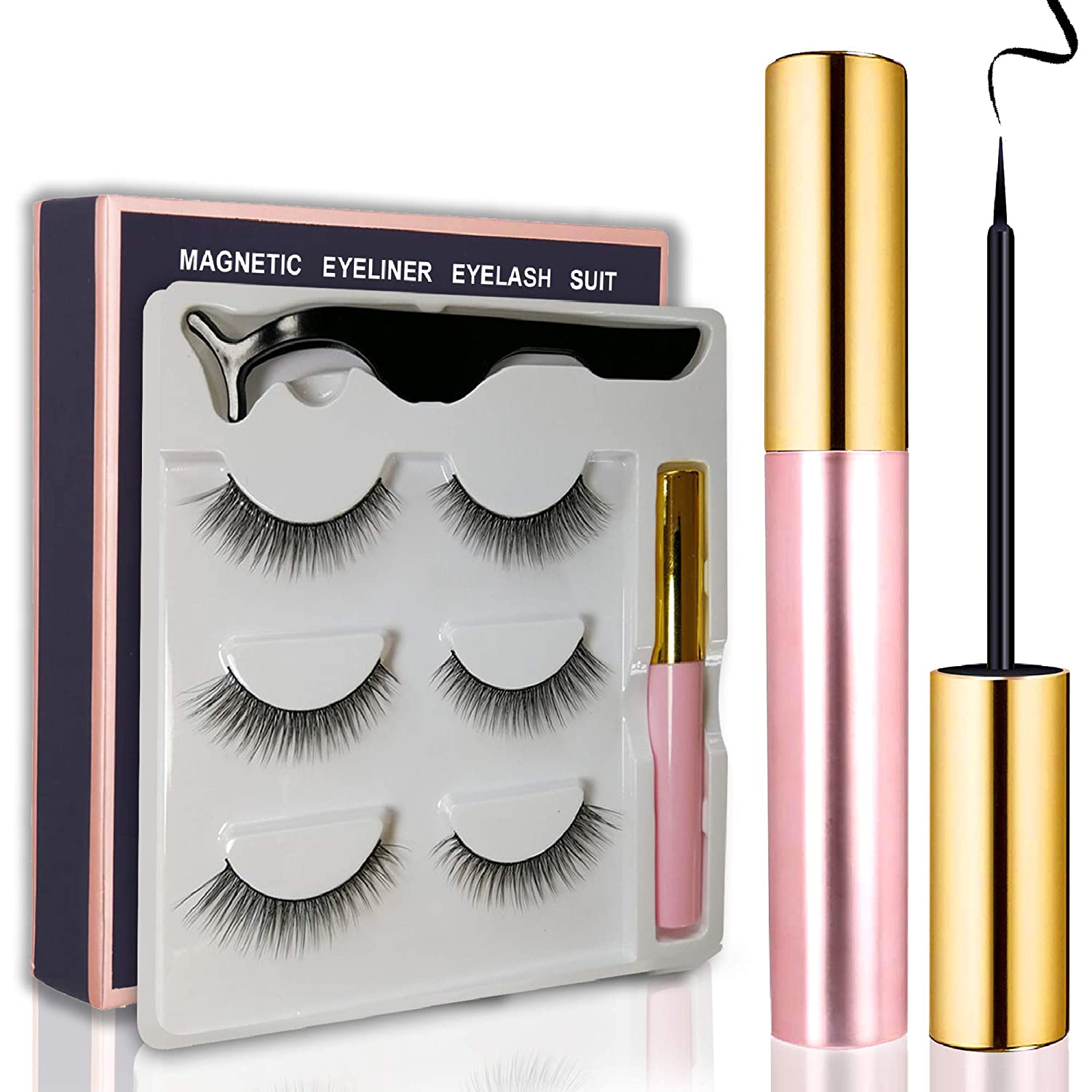 Magnetic Eyeliner with Magnetic Eyelashes Kit, Waterproof Smooth Liquid Eyeliner and Multi Styles Ultra-thin 3D Reusable Magnets False Lashes with Applicator for Party Dating Wedding (S9)