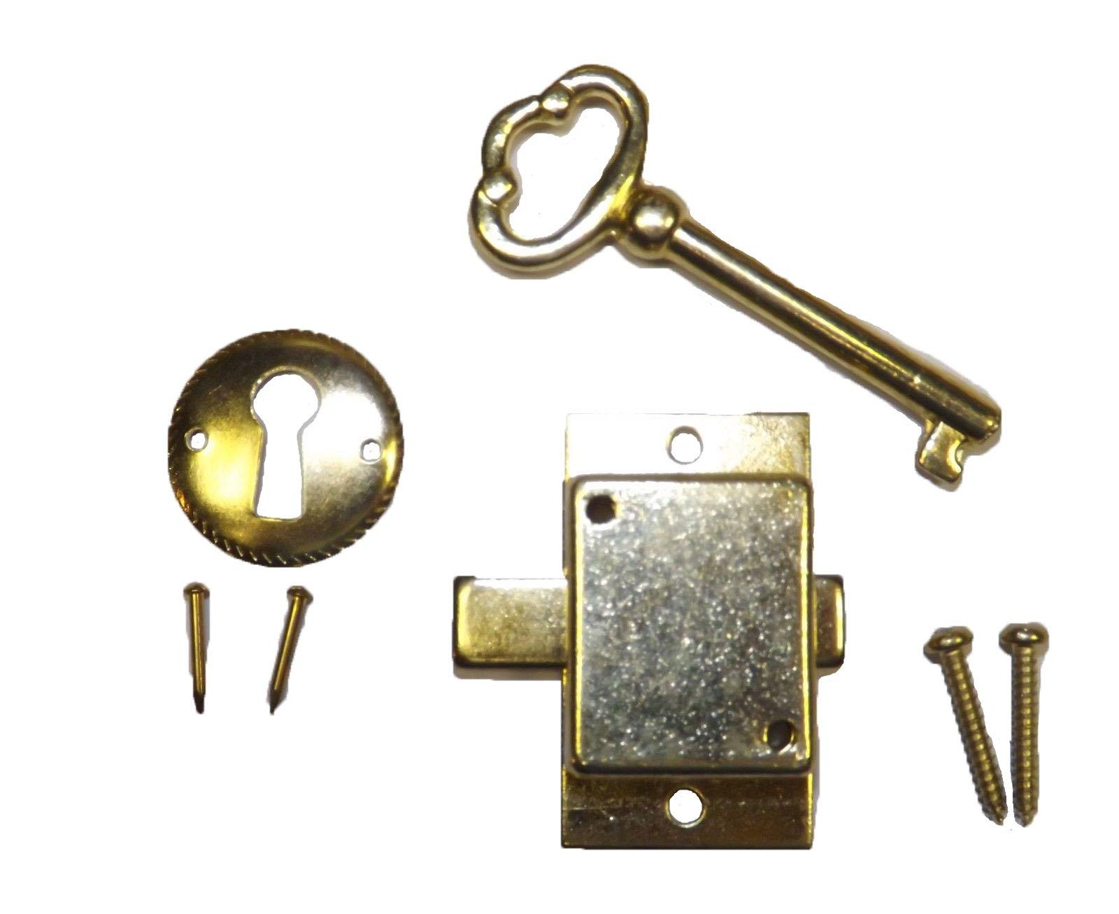 1 3/4'' (L) x 1'' (W) x 3/8'' (D) Antique Grandfather Clock Door Lock and Key Set