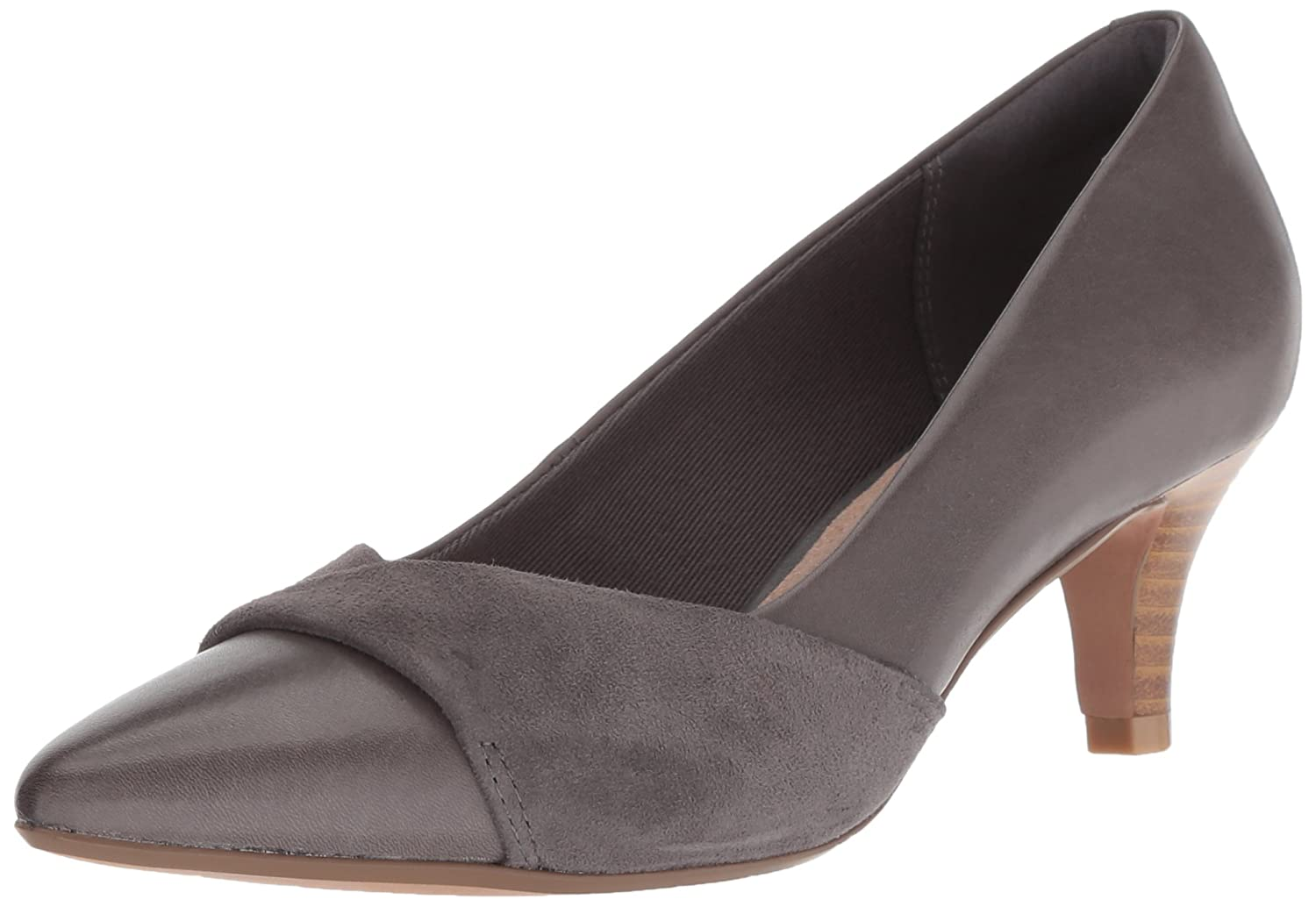 CLARKS Women's Linvale Vena Pump B077ZG2VJM 055 M US|Grey Leather/Nubuck Combi