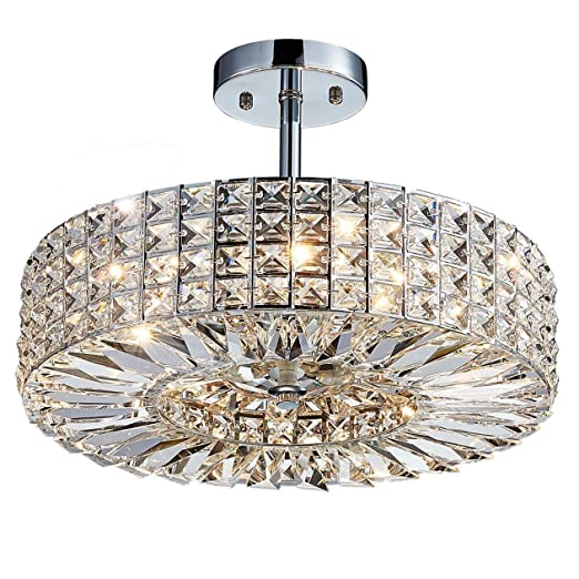 new arrival a573b 9a404 Saint Mossi Modern Crystal Semi Flush Mount Chandelier Lighting Close to  Ceiling Lights Clear Crystal Lampshade 16