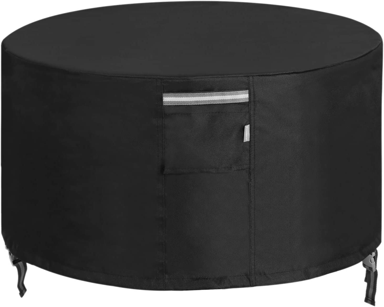 SONGMICS Fire Pit Cover, 600D Oxford Fabric, Round Fire Pit Table Protective Cover for Outdoor Patio Garden, Waterproof and Anti-Fade, 36 Dia. x 24 Inches, Black UGPC091B03