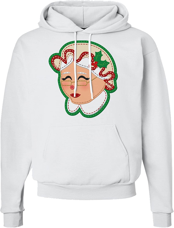 TooLoud Cute Mrs Claus Face Faux Applique Hoodie Sweatshirt