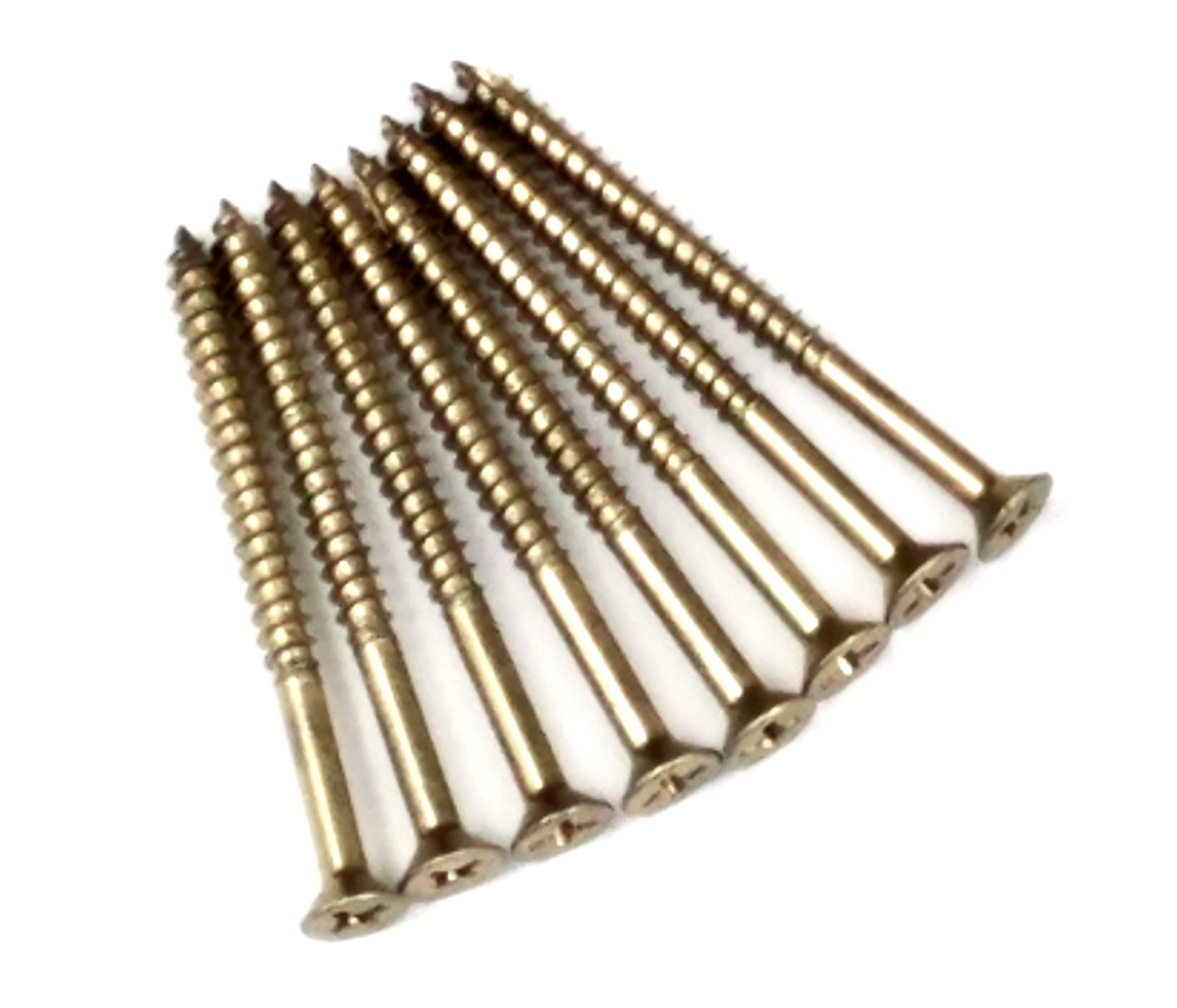 Bright Polished Brass Wood Screws #9 X 2 1/4'' for Residential Door Hinges - 24 Pack