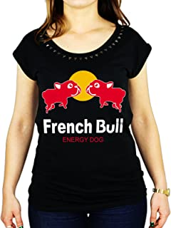 Tshirt da Donna con Borchie di Alta qualità in Cotone Fiammato French Bull - Energy Dog - Humor - Tutte Le Taglie by Tshirt da Donna con Borchie di Alta qualità in Cotone fiammatoeria t-shirteria