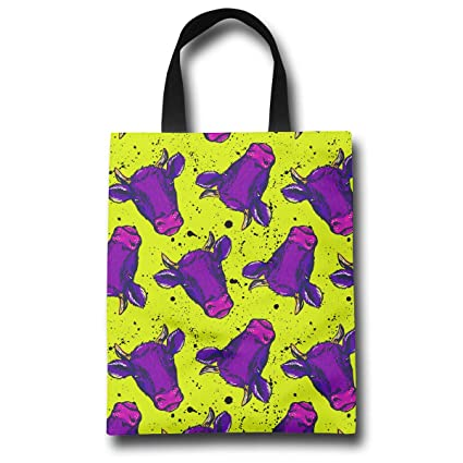 Amazon.com - LXXTK Women s Purple Cow Head Reusable Grocery Shopping ... 050ec79fb