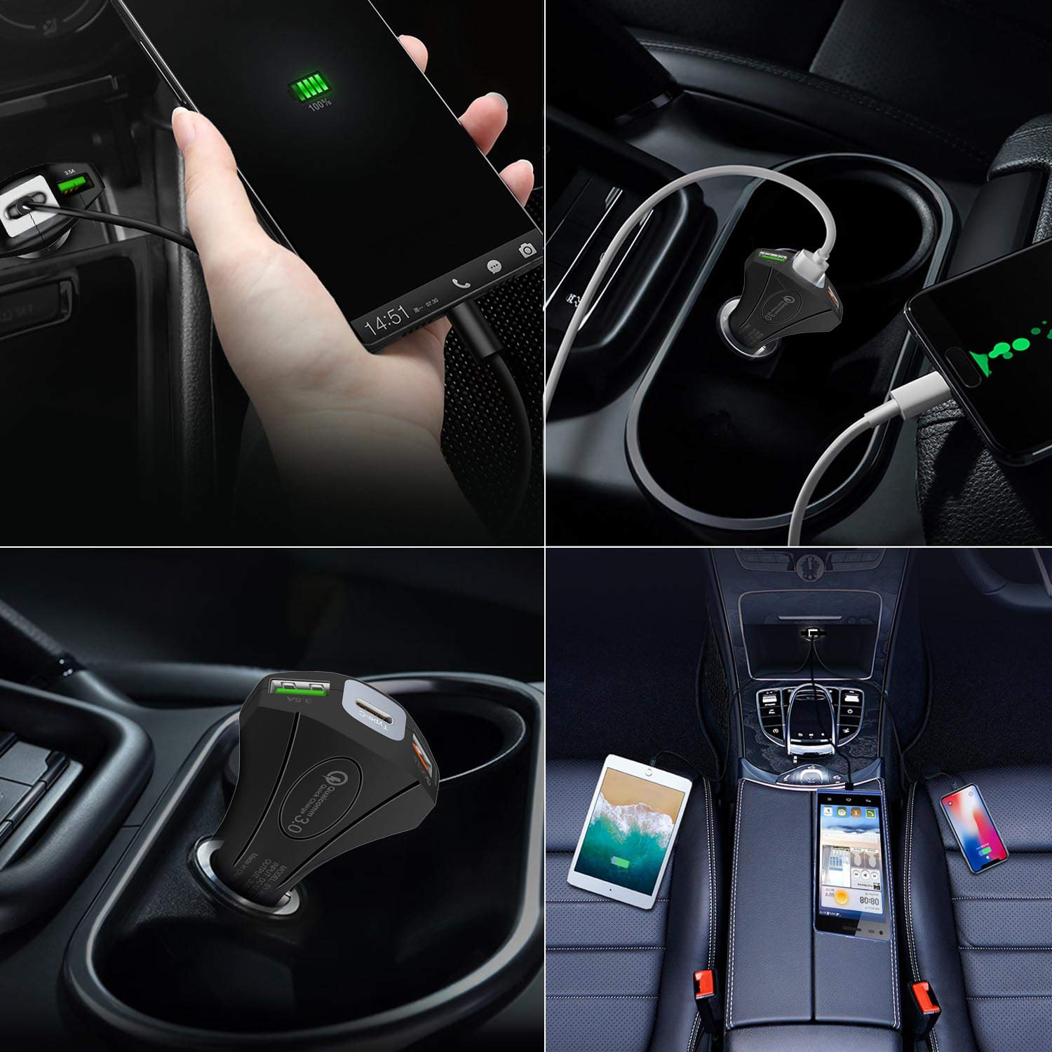 35W 3-Port Fast Car Charger Adapter with Dual USB QC 3.0 /& Type C Port Power Delivery for iPhone 11//Pro//Max//XS//XR//X//8,iPad Pro//Air,Samsung Galaxy S10//S9//Plus,Google Pixel IMustech Car Charger