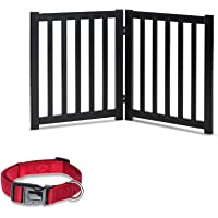 LZRS Oak Wood Foldable Pet Gate,Wooden Dog Gate,Cat Gate,Pet Gate with Pet Collar for House Doorway Stairs,Freestanding…