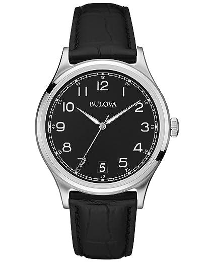 3c32369658fa Bulova Classic Vintage 96B233 - Reloj de Pulsera de Diseño para Hombre -  Correa de Cuero - Negro  Amazon.es  Relojes