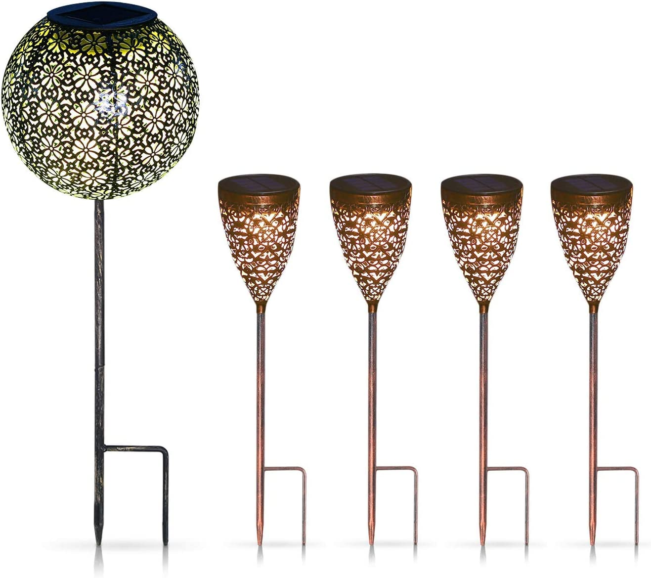 Garden Solar Lights Pathway Outdoor Solar Stakes Lights, Waterproof Decorative Metal Lights for Yard, Lawn, Patio, Courtyard