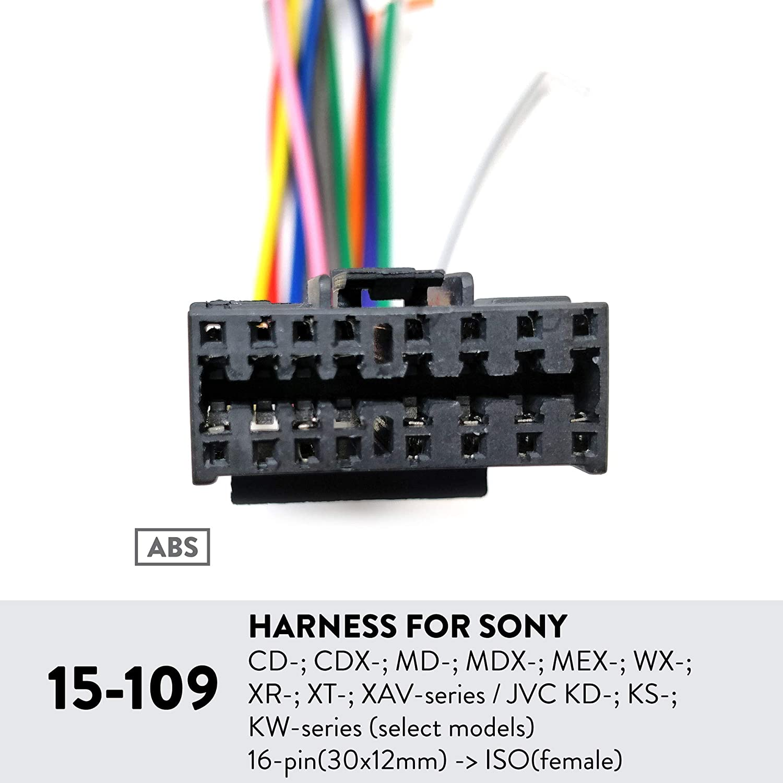 - ISO 16-pin Select Models Female 30x12mm UGAR 15-109 Harness for Sony CD-; CDX-; MD-; MDX-; MEX-; WX-; XR-; XT-; XAV-Series//JVC KD-; KS-; KW-Series