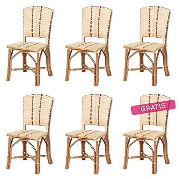 Lote de 6 sillas de Ratan Soria: Amazon.es: Hogar