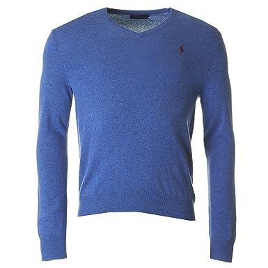 RALPH LAUREN - Pull col V Ralph Lauren en laine bleu pour homme - Bleu, eb3a5790f5f