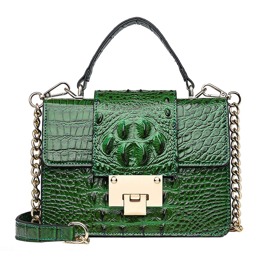 Women Leather Crossbody Bag, NDGDA Ladies Classic Crocodile Snake Pattern Leather Evening Chain Satchel Crossbody Tote Bag Cultches for Women Wallet- Black Serpentine by NDGDA 👜 Shoulder Bag