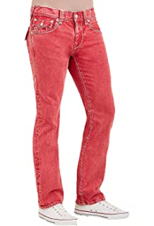 37a793bf8 Amazon.com  True Religion Men s Slim Moto Black Stitch Jean in Ruby ...