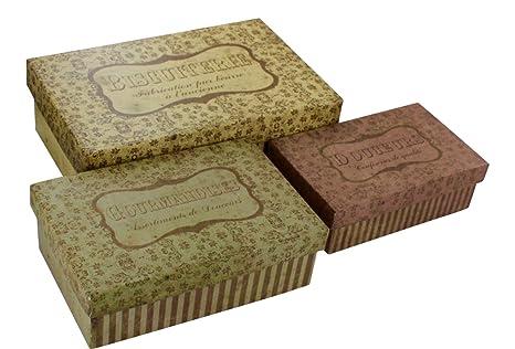 """Decorativa cajas de almacenamiento – juego de 3 – Rectangular- francés Vintage diseño """""""