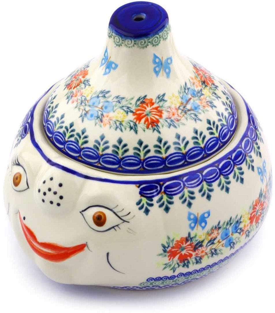 Polish Pottery 8½-inch Garlic and Onion Jar (Red Cornflower And Blue Butterflies Theme) Signature UNIKAT + Certificate of Authenticity by Polmedia Polish Pottery