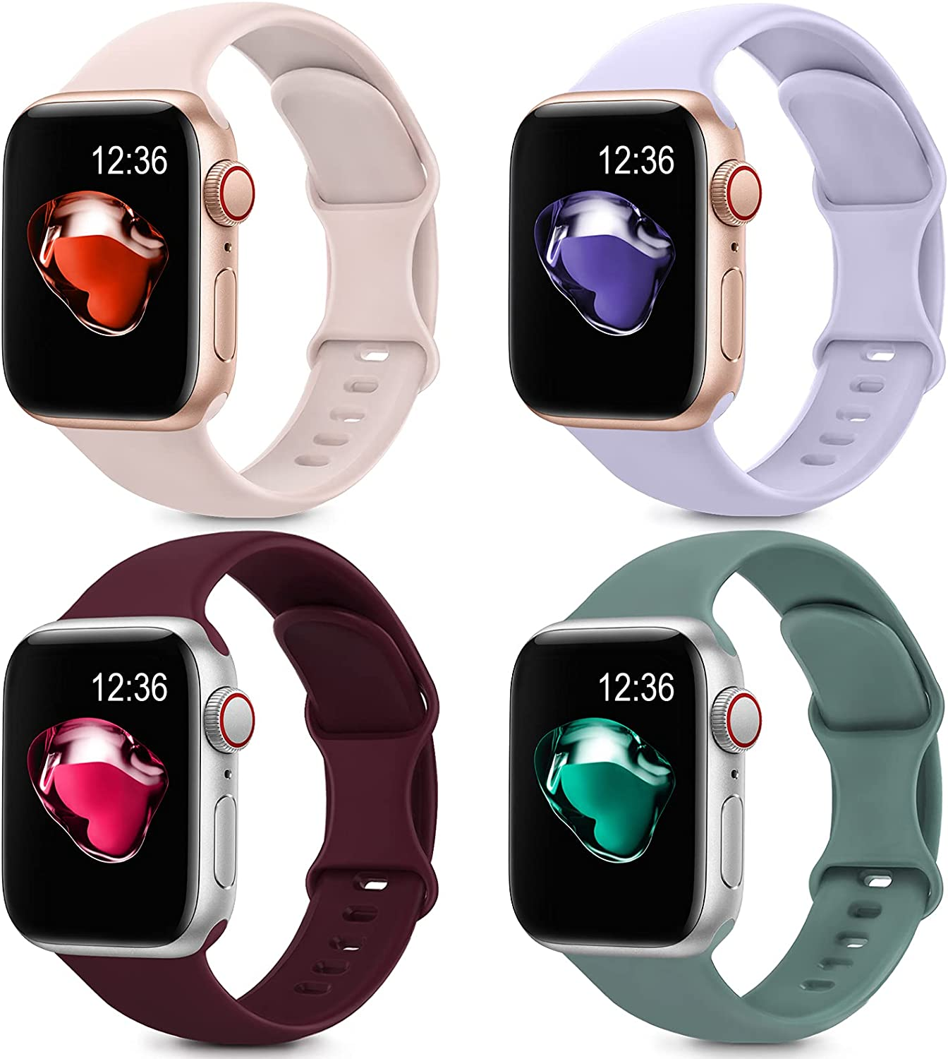 4 Pack Sport Silicone Bands Compatible with Apple Watch Bands 38mm 40mm Women Men, Soft Replacement Strap Band Compatible for iwatch Series 6 SE 5 4 3 2 1(38MM/40MM,Red+Pink+Green+Purple)