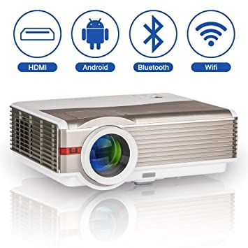 5000 Lumen inalámbrico LED HD Bluetooth HDMI 1080P LCD Android Proyector WiFi Airplay para Cine en