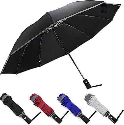 Large Strong Automatic Open Close Umbrella Folding Travel Windproof 8 or 10 Ribs