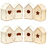 Mini Wood Bird Houses for DIY Crafts (4 Designs, 8 Count)
