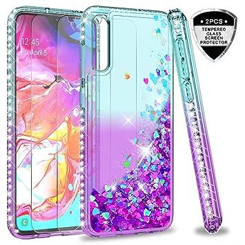 LeYi Funda Samsung Galaxy A70 Silicona Purpurina Carcasa con [2-Unidades Cristal Vidrio Templado], Transparente Cristal Bumper Gel TPU Fundas Case ...