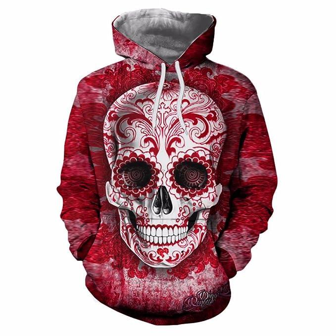 Yannerr Unisex Par Más Gran 3D Impreso cráneo Jersey Abrigo con Capucha Primavera Manga Larga Camiseta