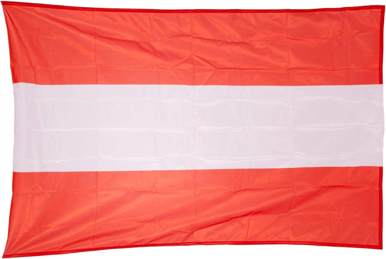 1,5 m/² Fl/äche Fahne Republik /Österreich Hissflagge im Querformat Fahnen K/össinger 150 x 100 cm rot-wei/ß-rot hochwertiger Siebdruck rei/ßfest Brillante Farben Hissfahne mit Wappen