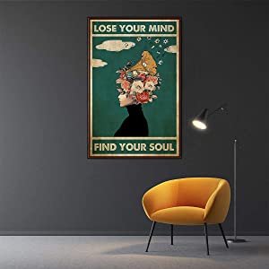 Lose Your Mind Find Your Soul Poster Mental Health Music canvas wall art Poster Mental Vintage canvas print painting Mental Health Awareness Wall Art Minimalist Artwork for Home Office Decor unframed (16X24inch Unframed)