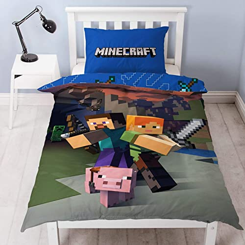 Minecraft Reversible Single Duvet Cover Set, Polyester Cotton, Blue