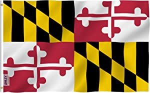 Anley Fly Breeze 3x5 Foot Maryland State Polyester Flag - Vivid Color and UV Fade Resistant - Canvas Header and Double Stitched - Maryland MD Flags with Brass Grommets 3 X 5 Ft