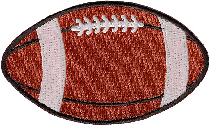 Amazon.com: Football Embroidered Patch Gridiron Pigskin Ball Iron-On  Applique Sports Emblem: Clothing