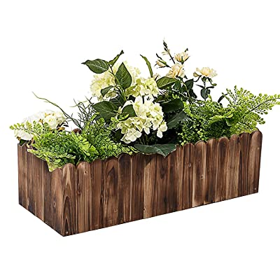 "Outsunny Wooden Raised Bed Garden Flower Planter Box for Vegetables and Herbs, Rustic Scalloped Edge, 40"" L x 16"" W x 12"" H : Garden & Outdoor"