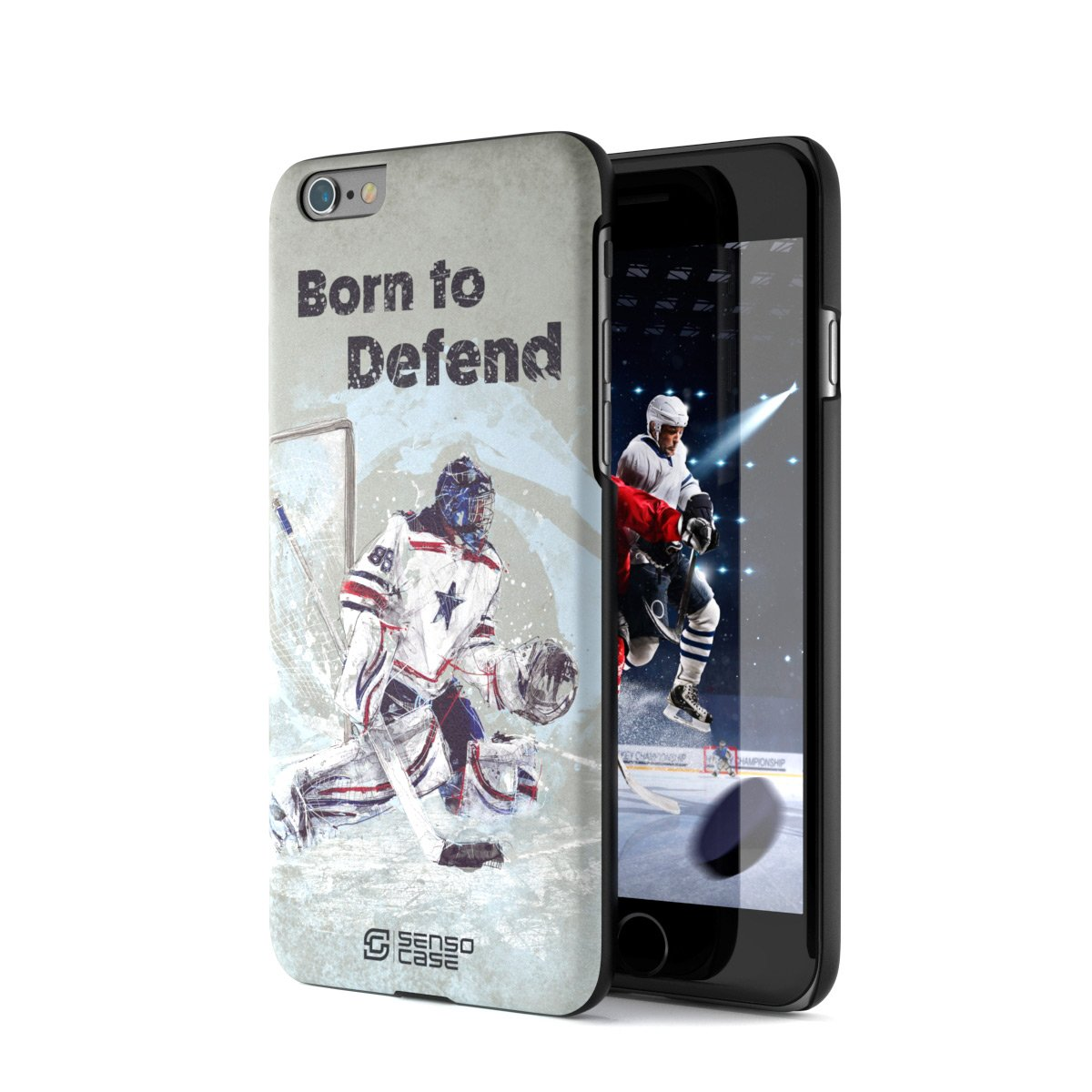 iPhone 6 Case, Born For Hockey. Sensocase Premium Extreme Sports Unique Designer Tough Shell Thin Cover. Luxury, Anti-Fingerprint, Anti-Scratch Stylish Slim Protective Apple Phone 6S Case. by SENSOCASE