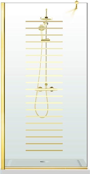 Modern Glass Art Leroy Timeless Milano - Mampara de ducha (8 mm, cristal templado de seguridad, nano, acabado de latón dorado), dorado: Amazon.es: Bricolaje y herramientas